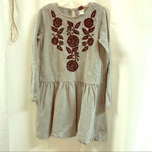 Girls Dress 6 Tea Grey Embroidery Casual
